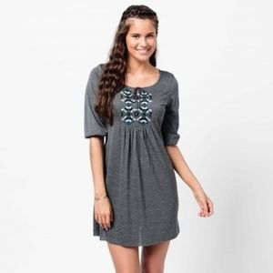 Earthbound Trading Co Gray Embroidered Dress Small